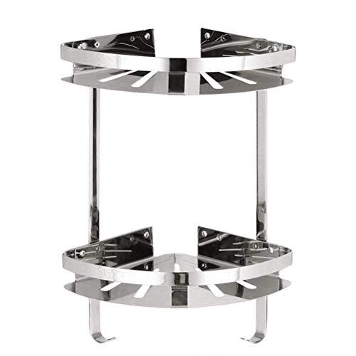 GYCS Estante para baño Estante Triangular de Aluminio de Doble Capa, Toallero de Acero Inoxidable montado en la Pared - Colgador de Toallas de Metal - Rejilla de Ducha montada en la Pared Caja de