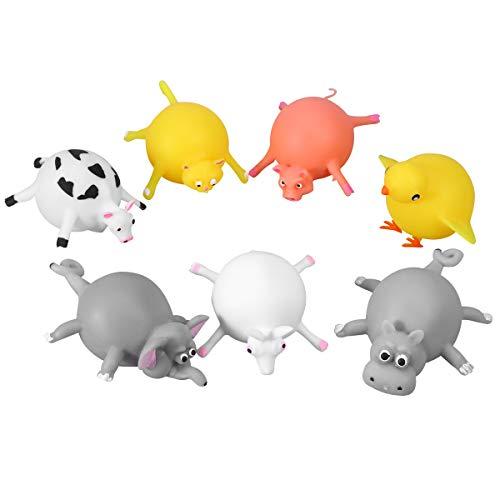 LIOOBO Gummi Tierspielzeug Blow Up Prellen Elefant Kuh Hippo Ente Baby Badespielzeug Tier Ballons für Kinder 7 stücke