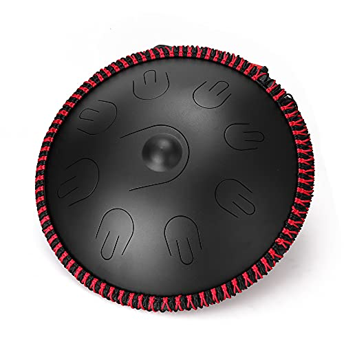 N   B Kit de Tambor de la Lengua de Acero, 16 Pulgadas 9 Notas de Instrumento de percusión C-Key Tambores de Mano con Bolsa, mazos, Handpan portátil, para meditación Concierto Yoga