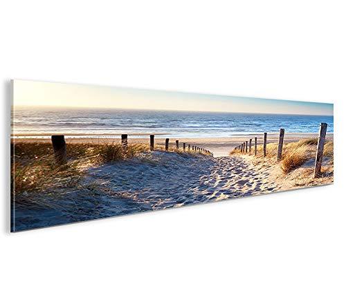 islandburner, Bild auf Leinwand Weg zum Meer Dünen Panorama XXL Poster Leinwandbild Wandbild Wohnzimmer Nordsee Insel Strand Amrum Sylt Juist Rügen