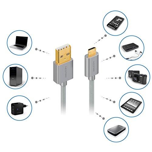 deleyCON Micro USB Kabel 2m Nylon + Metallstecker - Ladekabel Datenkabel Schnellladekabel - Smartphone Tablet PC Laptop Notebook - Silber