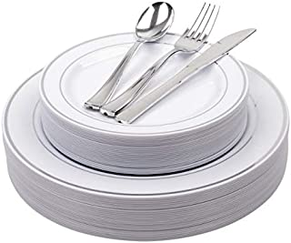 25 Heavyweight Elegant Plastic Disposable Place Settings: 25 Dinner Plates, 25 Salad or Dessert Plates & 25 Polished Silver Plastic Forks Knives & Spoons