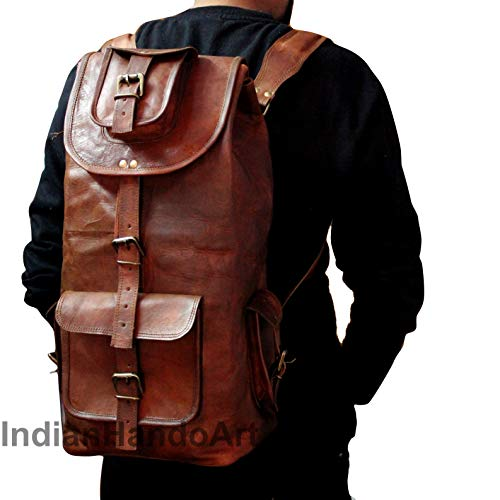 20' Brown Messenger Vintage Leather Backpack Laptop College, Brown, Size 20 inch