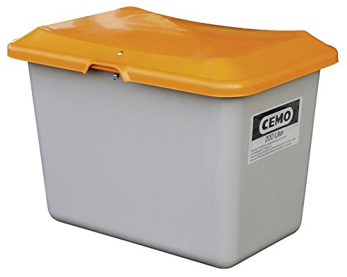 CEMO 10565 GFK-Streugutbehälter ohne Entnahmeöffnung, grau/orange, 200 L