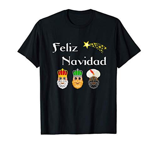 Diseño Navideño Divertido Con Reyes Magos Feliz Navidad Camiseta