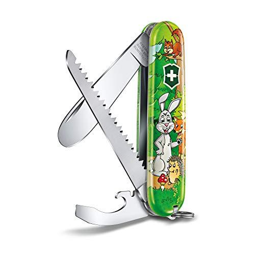 Victorinox Taschenmesser Children Set, Hasen Edition (9 Funktionen, Klinge ohne Spitz, Schraubendreher, Holzsäge) inkl. Nackenband und Malbuch