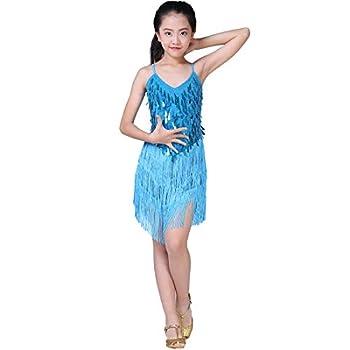 Magogo Girls Dancing Dresses Sequin Tassel Skirt Latin Dance Costumes for Kids Salsa Ballet Tango Rumba Ballroom Dancewear  XL Light Blue