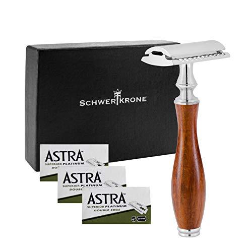 Schwertkrone Premium Rasierhobel Herren mit 15 Rasier-Klingen Astra | Nassrasierer für Mann und Frau | Sicherheitsrasierer Safty Razor