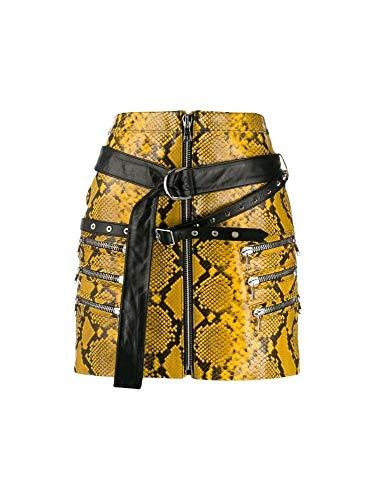 Luxury Fashion | Unravel Project Dames UWJC008F19LEA0016010 Geel Leer Rokken | Herfst-winter 19