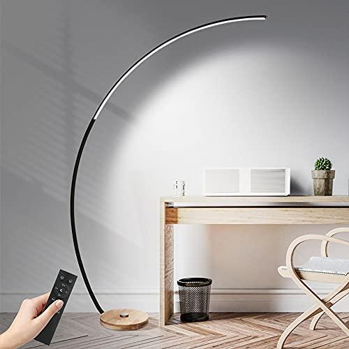DROMEZ Bogenleuchte LED Dimmbar, Holz Stehlampe mit Gebogenem Lampenschirm, 3 Farbtemperaturen, Fußschalter, Bogen Design Fernbedienung Stehleuchte für Wohnzimmer, Schlafzimmer