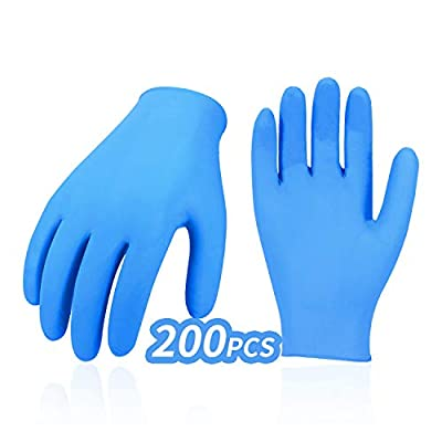 Vgo 200-Pcs Nitrile Disposable Gloves, Latex Free, Powder Free, Dexterity, Painting, Working, Gardening (Size 9/L, Blue, NT5137)
