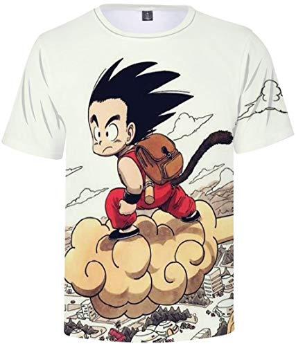 FLYCHEN T-Shirt Colorful Impreso en 3D Dragon Ball para Hombre Super Saiyan Cosplay Wu Camiseta Goku - Mono con Mochila 0099- M
