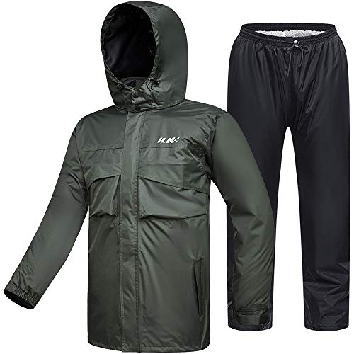 ILM Motorcycle Rain Suit Waterproof Wear Resistant 6 Pockets 2 Piece Set with Jacket and Pants Fits Men (Men's Large, Army Green)