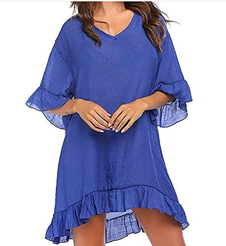 LYDIANZI Vrouwen Zomer Badpak Cover Ups Shirt Strand Stevig Badpak Strand Jurk Strand Rok Met Ruche Sleeves(Size:Medium,Color:Blauw)