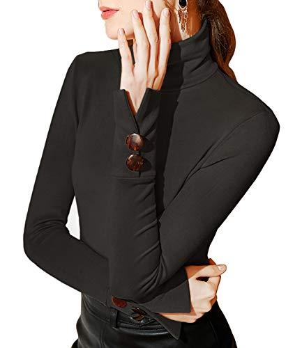 Dilgul Damen Shirt Langarm mit Rollkragen Langarmshirt Slim Fit Stretch Knöpfe Oberteile