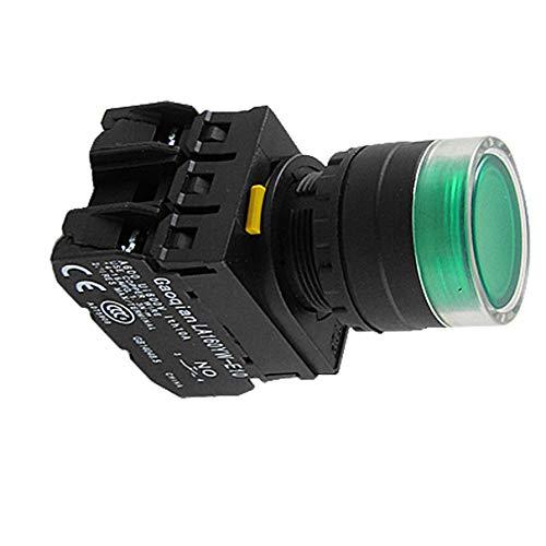 Aexit 1NO 1NC Contacto Interruptor de botón pulsador Indicador LED verde eléctrico...
