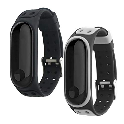 nuosiweilang 2 PCS Armband Kompatibel mit Xiaomi Mi Band 5,Silikon Ersatz Fitness Armband und Uhrenarmband Sportarmband und Wristband Armbänder Zubehör für Xiaomi Mi Band 5