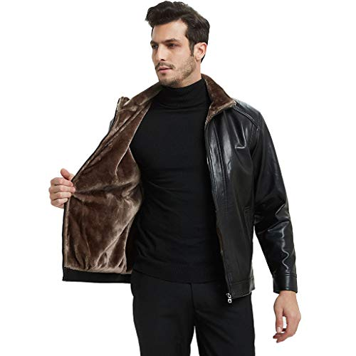 Mens Leather Jacket heren herfst-winter-outdoor-trenchcoat motorfiets slim fit racing biker lederen jas heren zwart vrije tijd warme motorfiets top