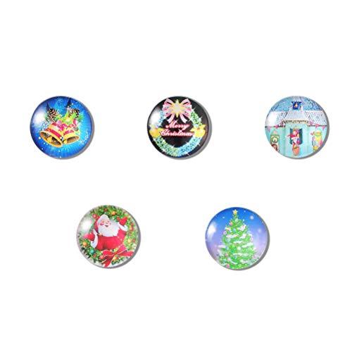 Yardwe - Imanes redondos de cristal para nevera, diseño de Papá Noel, 5 unidades, para fiestas, Navidad, decoración del hogar, estilo aleatorio