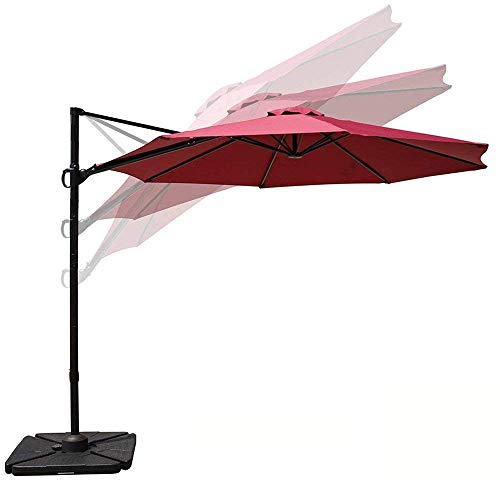 COBANA 10ft Cantilever Offset Patio Umbrella with Vertical Tilt and 360 Degree Rotation Function, Burgundy