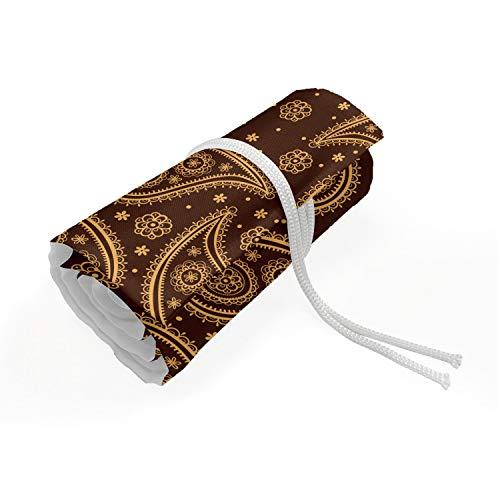 ABAKUHAUS Brown Paisley Mäppchen Rollenhalter, Mode-Motiv Muster, langlebig und tragbar Segeltuch Stiftablage Organizer, 36 Schlaufen, Schokolade und Ingwer