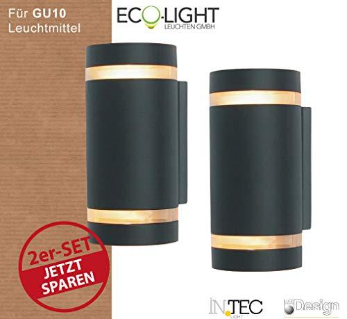LUTEC Eco Light Fokus Wandaussenleuchte Halogen Aussenleuchte Up & Down 6040gr I Gu10-Leuchtmittel I Preisgünstiges Set aus zwei Leuchten I Wetterbeständig und Robust, Gussaluminium, Anthrazit