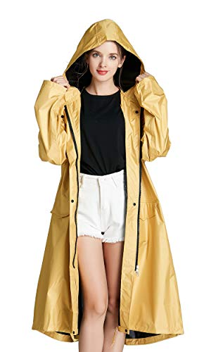 Freesmily Women Long Raincoat Waterproof Rain Jacket with Hood Zipper and Pockets Outdoors (Yellow, M)