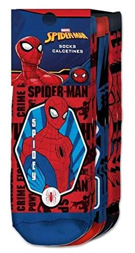 Kids Licensing | Calcetines Infantiles - Calcetines Diseño Spiderman - Calcetines Tobilleros - Personajes Marvel - Tejido Transpirables - Elástico en Arco Licencia de Producto Oficial