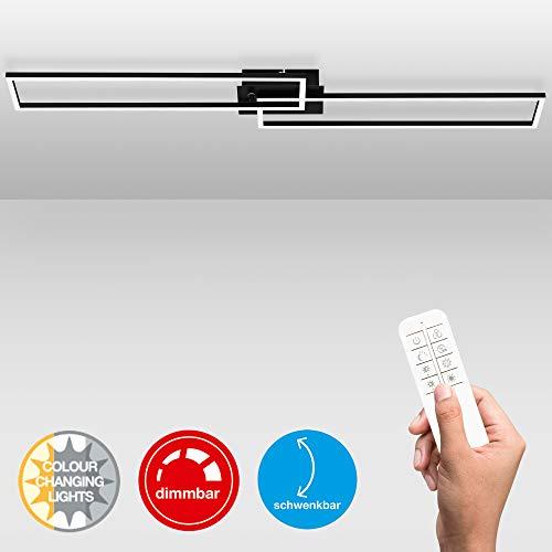 Briloner Leuchten LED plafondlamp, plafondlamp dimbaar, afstandsbediening, kleurtemperatuurregeling, incl. nachtlichtfunctie en timer, zwart, 1100 x 248 x 78 mm (l x b x h)