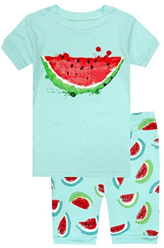 elowel | Schlafanzug | Kurzarm & Hose | Kinder | Mädchen | 2-Teilig | Design-Pyjama | Eng Anliegend | Größe: 3 Jahre (98) | Design: Wassermelone | Farbe: Grün