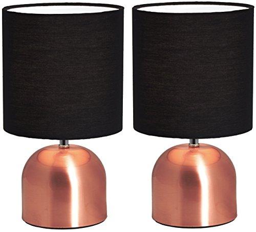 2er Set BRUBAKER Tisch- oder Nachttischlampen 28 cm Kupfer/Schwarz- Designed in Germany