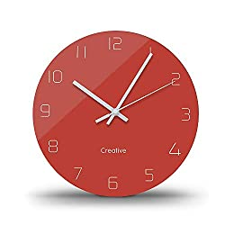 FlorLife Silent Quartz Decorative Wall Clock Non-Ticking Round Battery Operated Glass Clock for Living Room Kitchen Home Office 12 Inch - Red