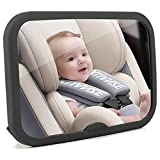 Funbliss Baby Car Mirror, Shatter-Proof Acrylic Baby Mirror for Car, Safely Monitor Infant Child in Rear Facing Car Seat, Safety and 360 Degree Adjustability Black