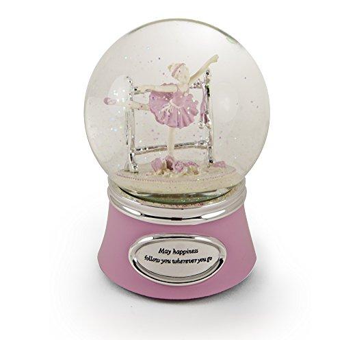 MusicBoxAttic Inspirerende Roze En Zilver Geanimeerde Ballerina Sneeuwkoepel - Meer dan 400 Liedjes Keuzes