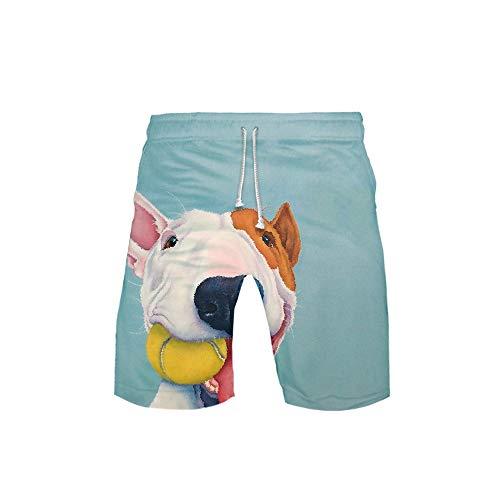 URVIP Herren Bulldogge Shorts Badehose Badeshorts Strand Shorts Beach Shorts Board Shorts Schnelltrocknend für Sommer Hund-01 5XL