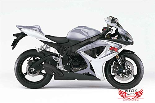 VITCIK Autocollants pour carénages de motos de course GSX-R750 GSX-R600 K6 2006 2007 GSXR 600 750 K6 06 07 (Argent)