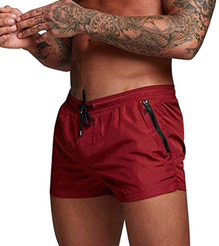 Glaiidy Badeshorts Shorts Sport Männer Sommer Fitness Mode Badehose Günstige Bodybuilding Casual Mode Living Für Jogging Gym (Color : 230-Du Vin, Einheitsgröße : M)