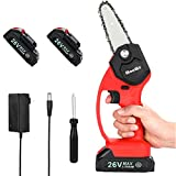 Mini Cordless Chainsaw, Seesii 4 inch One-Hand Handheld Electric Portable Chainsaw with 2Pcs Battery, Battery Operated Pruning Chain Saw for Tree Trimming and Branch Wood Cutting