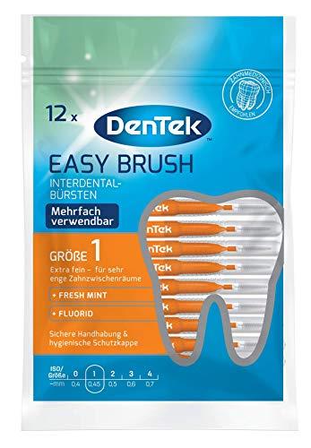 DenTek 12 Stk. Dentek Easy Brush Interdental-Bürsten, ISO/Größe 1, extra fein - für sehr enge Zahnzwischenräume, mit Minzgeschmack & hygienischer Schutzkappe
