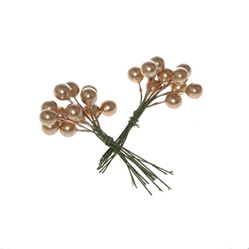 Decoratieve bessen aan de gouden draad – adventskrans – kerstversiering – bessentak – geschenkdecoratie – ca. Ø 1 cm bessen x 7 cm draadlengte - 1 VE = 3 x 24 stuks - A105