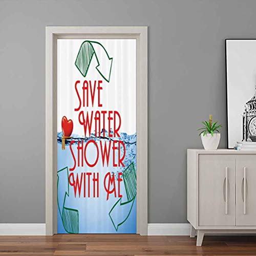 Funny Sexy Wallpaper Murals Invitation Save Water Shower with Me Sexy Decor Recycling Earth Lover Funny Heart Kinky Home Funny Couples Quote Adult Art Door Decals Self-Adhesive Removable Art
