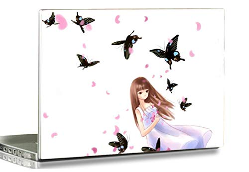 HYUTOTA Laptop Stickers Decal,12 13 14 15 15.6 inches Netbook Laptop Skin Sticker Reusable Protector Cover for Toshiba Hp Samsung Dell Apple Acer Leonovo Sony Asus Laptop Notebook (Butterfly & Girl)