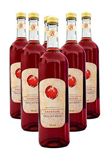 Bayernwald Fruchtwein Erdbeere 6 x 0,75 l, reiner Erdbeerwein, lieblicher Beerenwein, 9% vol