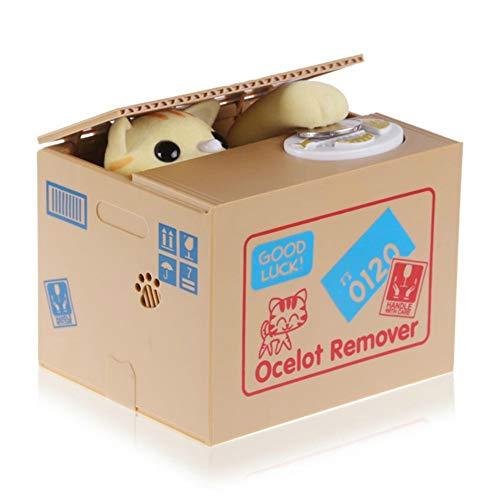 Kassa MYKK Munt Spaarpotten Automatische Munt Spaarpot Spaarpot Cadeau Voor Kinderen Kinderen Verjaardag 12 * 10 * 9 cm Gele kat