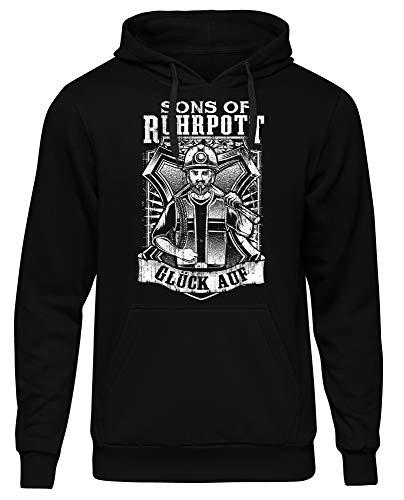 Uglyshirt89 Sons of Ruhrpott Männer Herren Kapuzenpullover | Ruhrgebiet Revier Glück auf Bergbau Kumpel Fussball | M13 (4XL)