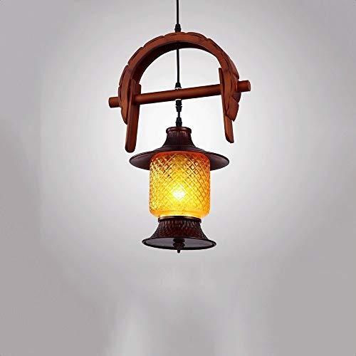 Hurffue American Retro Mediterráneo araña restaurante rústico bar pendiente de la luz industrial de madera sólida lámpara de techo Comedor Vestíbulo casero de la lámpara del techo del pasillo Edison E