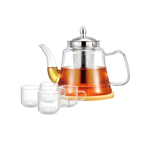 ROIMTEA Glass Teapot Kettle Set with 4 Matching Tea Cups, Removable Stainless Steel Infuser for Loose Leaf & Blooming Tea, Stovetop Safe & Microwave Safe Tea Brewer Maker with Coasters, 1200ML/40oz