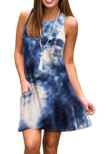 OMZIN Damen Sommerkleider A-Linie Rundhals Ärmellos Strandkleid Minikleid Shirtkleider Vestkleid Trägerkleid Swingkleid Kurzarm Tie-Dye Marine