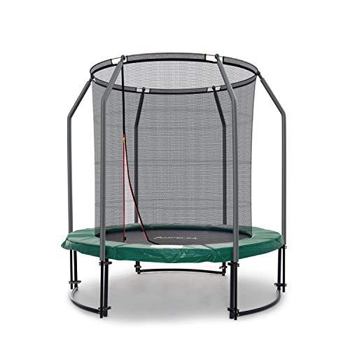Ampel 24, Tappeto elastico di Lusso completo con rete di sicurezza/diametro 183 cm / 6 pali imbottiti/Capacità di carico 120 Kg/con rete interiormente per una granda sicurezza