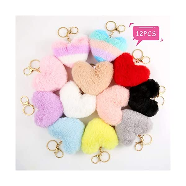 Auihiay 12 Pieces Pom Poms Keychains Fluffy Heart Shape Pompoms Keyring Faux Rabbit Fur Pompoms for Valentine Day Gift